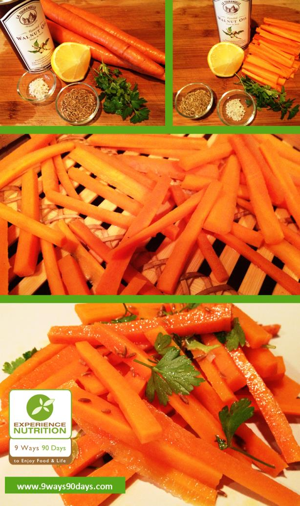 Whole Foods Cooking - Bamboo Steamer Organic Carrots with Toasted Cumin Seeds & Walnut Oil