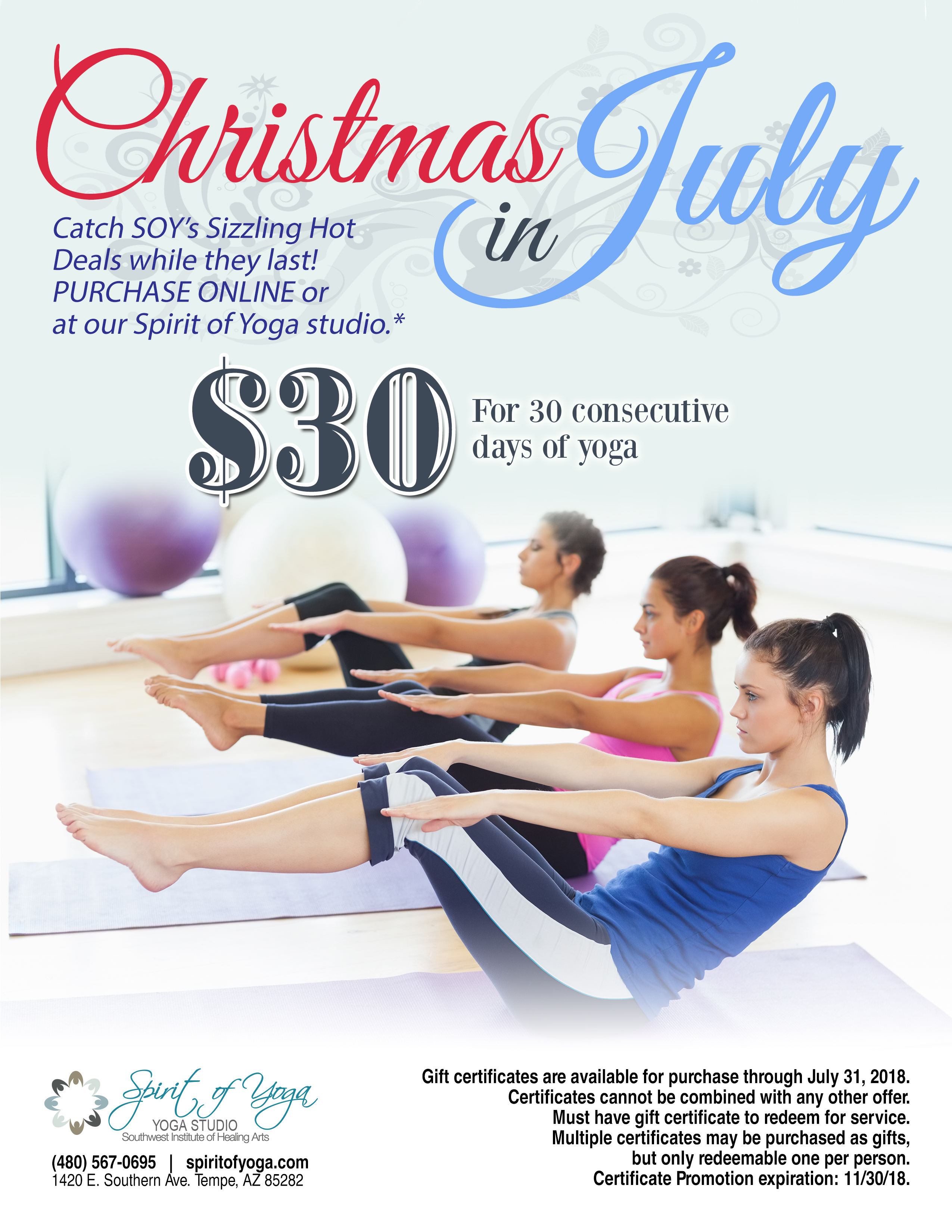 SOY Yoga Studio July Special